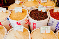 Rice for Sale. Different types of rice for sale in a market in Asia Royalty Free Stock Images
