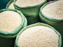 Rice for sale at the asian market. Organic food Stock Photo