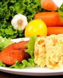 Rice and salmon Stock Photo