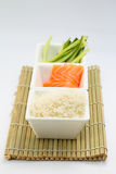Rice salmon and sliced cucumber in white dish on bamboo mat Royalty Free Stock Photos