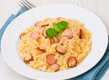 Rice with sausage Stock Photo