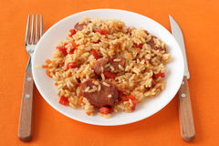 Rice with sausages and pepper Royalty Free Stock Photography