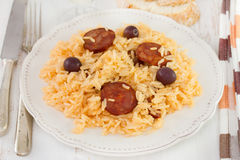 Rice with sausages Stock Images