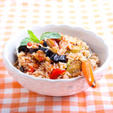 Rice with sauteed vegetables in tomato sauce Royalty Free Stock Image