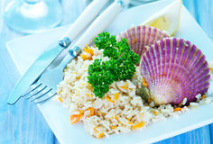 Rice with scallop Stock Photo