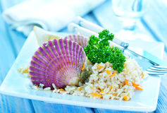 Rice with scallop Stock Photography