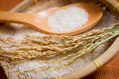 Rice,scoop in a bamboo basket Royalty Free Stock Photography