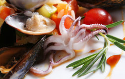 Rice with sea-food. Octopus and vegetable Stock Photo