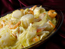 Rice Seafood Dish. A western style seafood dish with shrimp, crab and scallops stock photography