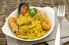Rice and seafood Paella Stock Photo