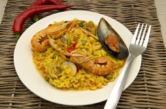 Rice and seafood Paella Stock Photography