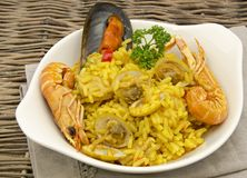 Rice and seafood Paella Royalty Free Stock Image