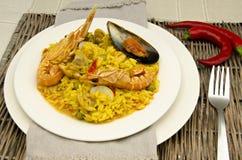 Rice and seafood Paella Stock Image