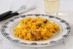 Rice with seafood on a plate Royalty Free Stock Photos