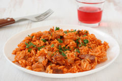 Rice with seafood and sausages Royalty Free Stock Photos