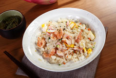 Rice with seafood on table Stock Photo