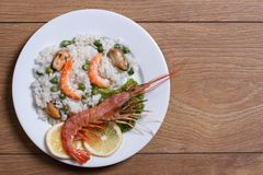 Rice with seafood and vegetables Stock Images