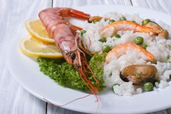 Rice with seafood and vegetables Royalty Free Stock Photo