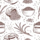 Rice seamless pattern. Hand drawn bowl with rice grains and paddy ears vector japanese texture. Illustration of sack with rice grain vector illustration