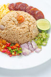 Rice Seasoned with Shrimp Paste, Thai food, Thai cuisine on whit Royalty Free Stock Images