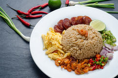 Rice Seasoned with Shrimp Paste, Thai food on white dish over da Stock Images
