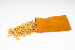 rice seeds cotton bag Royalty Free Stock Photo