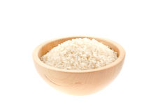 Rice seeds in a wood bowl Royalty Free Stock Photo