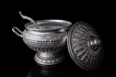 Rice serving bowl - Open lid of Thai aluminum rice serving bowl stock illustration