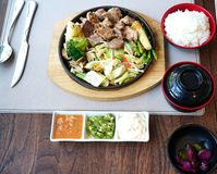 Rice set and beef steak in japanese style royalty free stock photo