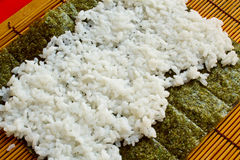 Rice on the sheet of sashimi Stock Photo