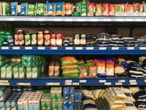 Rice on shelves. Variety of rice on shelves in the supermarket Stock Photography