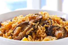 Rice with Shitake Mushrooms. This is West African jollof rice.  Delicious, healthy eating Stock Photos