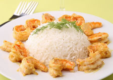 Rice and shrimp Stock Photos