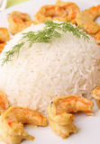 Rice and shrimp Stock Photo