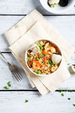 Rice with shrimp in a bowl Stock Photo