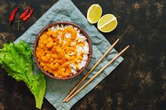 Rice and shrimp with curry sauce. Traditional Thai dish on a dark background. Asian food. Top view, copy space. royalty free stock photos