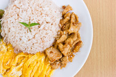 Rice with shrimp paste. Stock Photo