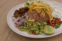 Rice with Shrimp paste, Thai style. Stock Photos
