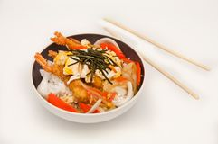 Rice with shrimp tempura Royalty Free Stock Image