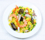 Rice and shrimps. Octopus, oyster. Seafood delicacy Royalty Free Stock Photography
