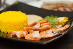 Rice and shrimps Royalty Free Stock Photos