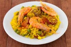 Rice with shrimps, meat Stock Images