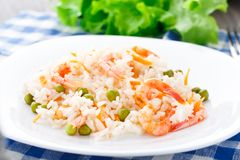 Rice with shrimps and peas Royalty Free Stock Photo