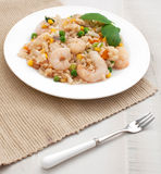Rice and shrimps with vegetables top view Stock Images