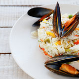 Rice side dish with mussels Stock Photos