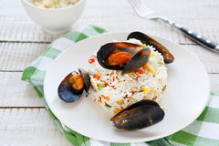 Rice side dish with mussels Stock Images