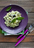 Rice with slices of zucchini and olives. Top view Royalty Free Stock Photos