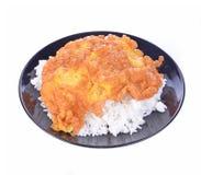 Rice, smakowity cząberu omelette na białym tle zdjęcie stock