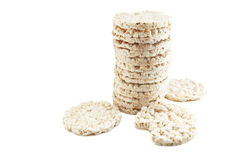 Rice snack. Puffed rice snack on white Stock Images