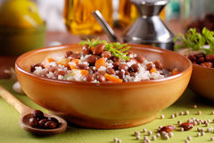Rice soup and beans Royalty Free Stock Photos